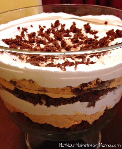 Finished Brownie Pumpkin Mousse Trifle Recipe
