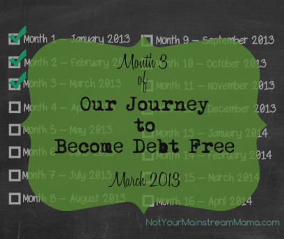 Month 3 of Our Journey to Become Debt Free March 2013