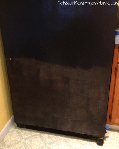 Second Coat of Chalkboard Paint Going On