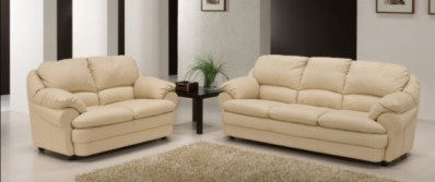 Our Current Cream Leather Living Room Set