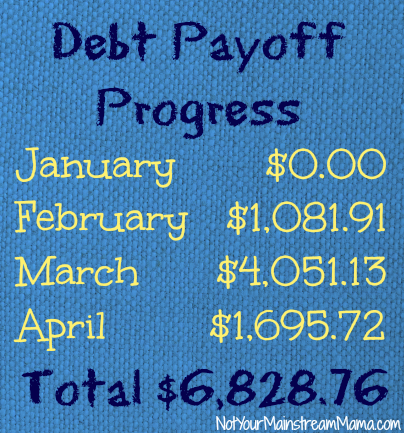 Debt Payoff Progress through April 2013