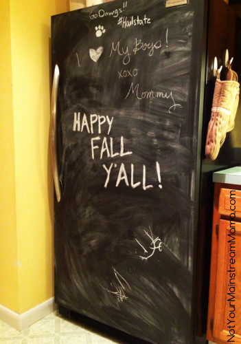 DiY Chalkboard Refrigerator Finished