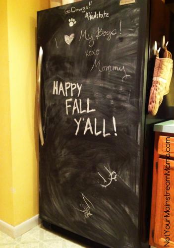 Diy chalkboard refrigerator finished