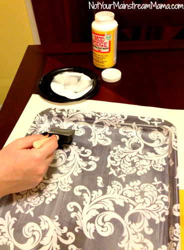 DiY Fabric Tray Mod Podge