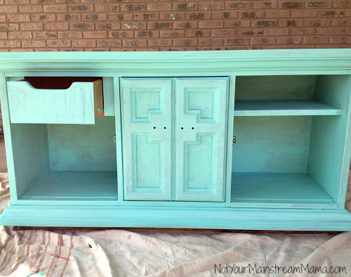 Buffet Media Center after One Coat of Chalk Paint