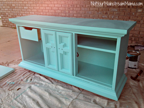 Buffet Media Center after Second Coat of Chalk Paint