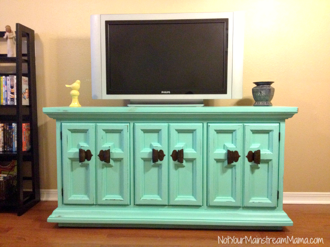 Buffet Turned Media Center with Distressed Chalk Paint