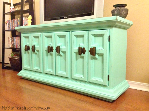 Chalk Painted and Distressed Media Center