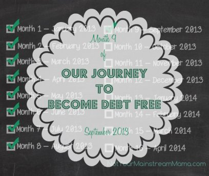 Month 9 of Our Journey to Become Debt Free