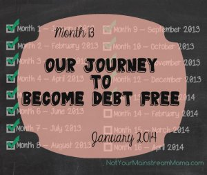 Month 13 of Our Journey to Become Debt Free January 2014